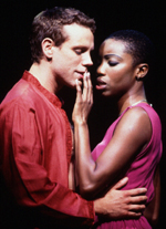 Adam Pascal and Heather Headleyshare a quiet moment in Aida
