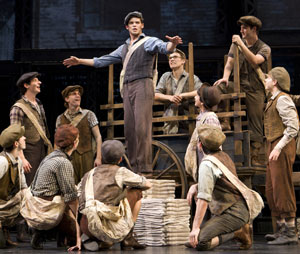 Jeremy Jordan (center) and company in  Newsies