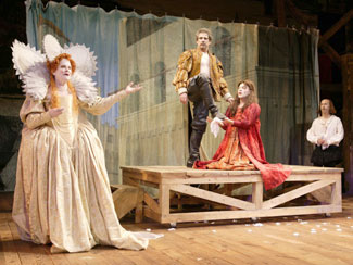 Mary Louise Wilson, James Gale, Justin Schultz,and Tim Blake Nelson in The Beard of Avon