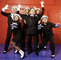 (l to r) Barry Finkel, Cheryl Stern, Darrin Baker,Jackie Mason, Ruth Gottschall,and Robert Creighton in Laughing Room Only(Photo © Bill Milne)