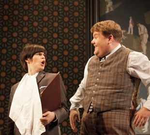 Jemima Rooper and James Corden in One Man, Two Guv'nors (© Johan Persson)