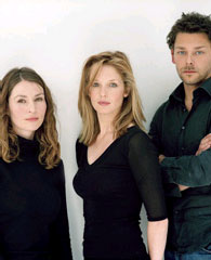 Helen Baxendale, Kelly Reilly, and Richard Coyle of After Miss Julie (Photo © Hugo Glendinning)