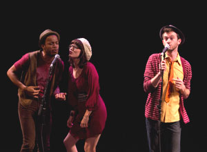 Kyle Lamar Mitchell, Jennifer Bowles, and Luke Smith from F**king Hipsters! perform at the NYMF preview (© Tristan Fuge)