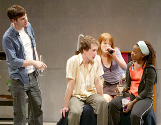 Luke MacFarlane, Ian Brennan, Aubrey Dollar,and Erica N. Tazel in Juvenilia(Photo © Joan Marcus)