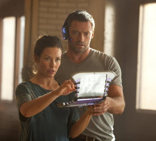Evangeline Lilly and Hugh Jackman in Real Steel