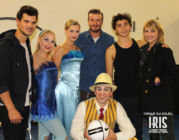 Taylor Lautner, David Beckham, and Dianna Agron with cast members from Iris