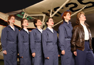 Carolyn Stone, Breean Julian, Jennifer Lynn McMillin,Kristin Fiorella, Sarah Rafferty, and Judith Hawking in Sky Girls(Photo © Ken Jacques)