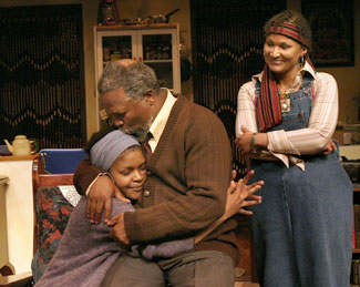 Warona Seane, John Kani, and Esmeralda Bihlin Nothing But the Truth(Photo © Paul Kolnik)