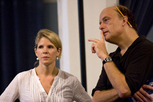 Kelli O'Hara and Frank Wood in rehearsal for King Lear