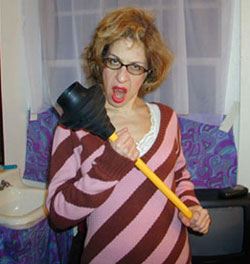 Jackie Hoffman in her Hairspray dressing room
