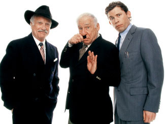 Richard Dreyfuss, Mel Brooks, and Lee Evans in a publicity shotfor the London production of The Producers