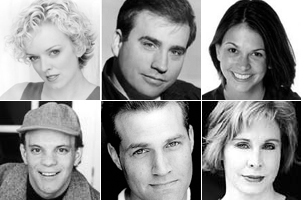 "The stars of ""The Broadway Musicals of 1926"":Top: Nancy Anderson, Bill Daugherty, and Sutton Foster,Bottom: Eddie Korbich, Marc Kudisch, and Nancy Opel"