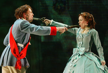 Peter Frechette and Samantha Soule in Valhalla(Photo © Joan Marcus)