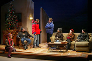 Liz Elkins, Jordan Lage, Todd Weeks, Dylan Baker, Lizbeth Mackay,Betsy Aidem, and Jason Fuchs in Sea of Tranquility(Photo © Carol Rosegg)