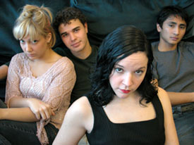 Megan Raye Manzi, Greg Raposa, Becca A. Lewis,and Vladimir Aseneta in The Shape of Things(Photo © Danielle Fauteux Jacques)
