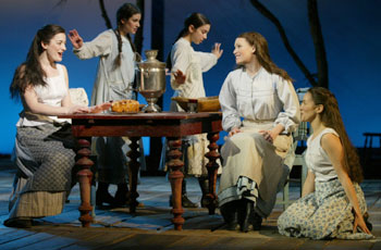 Laura Michelle Kelly, Lea Michele, Molly Ephraim, Sally Murphy, andTricia Paoluccio in Fiddler on the Roof(Photo © Carol Rosegg)