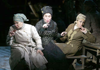 Marsha Waterbury, Nancy Opel, and Joy Hermalynin Fiddler on the Roof(Photo © Carol Rosegg)
