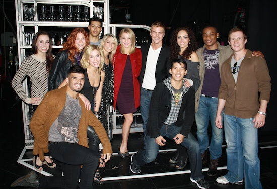 Julianne Hough and Derek Hough with the company of Come Fly Away