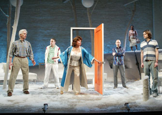 Nicholas Hormann, T. Scott Cunningham, Marsha Mason,Michael Cerveris, Brienin Bryant, and Christopher Denhamin Wintertime(Photo © Joan Marcus)