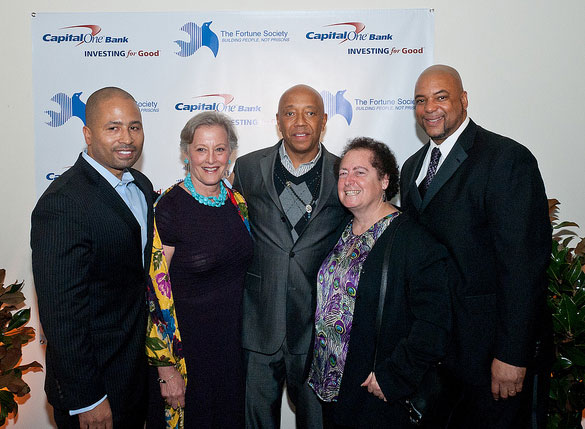 Russell Simmons (center) with The Fortune Society's Glenn Martin, Betty Rauch, JoAnne Page, and Stanley Richards
