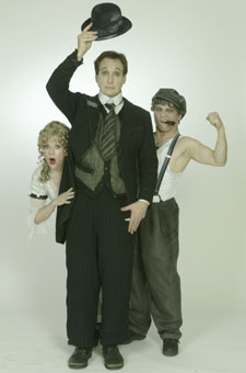 Jane Milmore, Billy Van Zandt,and Ken Jennings in Silent Laughter(Photo © Carol Rosegg)