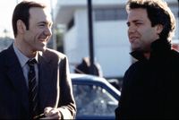 Sam Mendes (right) with Kevin Spaceyduring the filming of American Beauty.