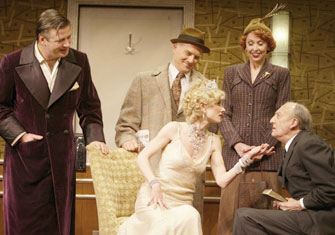 Alec Baldwin, Dan Butler, Anne Heche, Julie Halston, andTom Aldredge in Twentieth Century(Photo © Joan Marcus)