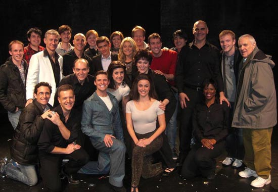 Kelly Ripa, Michael Consuelos , and John Kander with the company of SILENCE! (© Ritchard Druther)