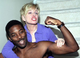 Ellen Foley and Postell Pringle in Hercules in High Suburbia(Photo courtesy of David Gersten & Associates)
