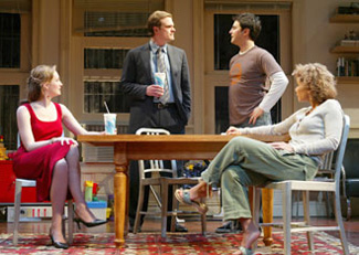 Kate Jennings Grant, David Harbour, Daphne Rubin-Vega, andBradley White in Between Us(Photo © Joan Marcus)