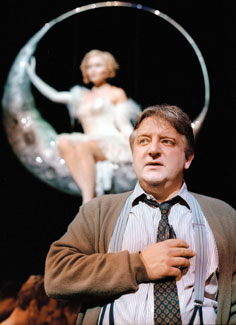 Essie Davis (background) andSimon Russell Beale in Jumpers(Photo &copy; Hugo Glendinning)