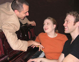 Nicholas Sattinger, Anne Gaynor, and Michael Hunsakerin a publicity photo for Merrily We Roll Along