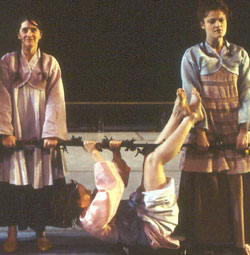 Molly Hickok, Dierdre O'Connell,and Rebecca Wisocky in Antigone(Photo &copy; Paula Court)