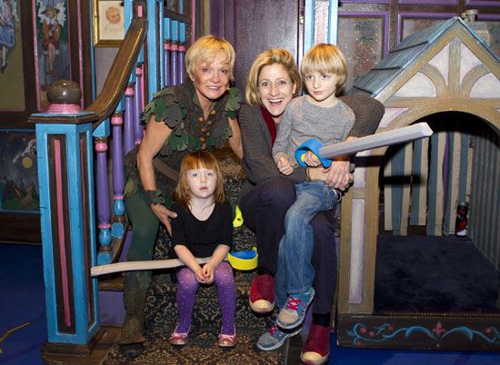 Cathy Rigby welcomes Edie Falco and her children Macy and Anderson on the set of Peter Pan