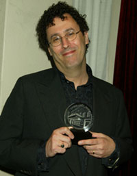 Tony Kusher with hisLucille Lortel Award(Photo © Joseph Marzullo)