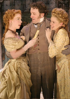 Caitlin Muelder, Jeremy Shamos, andNicole Lowrance in Engaged(Photo © Gerry Goodstein)