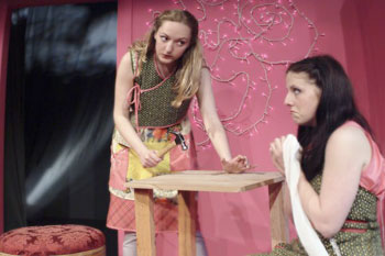 Phoebe Ventouras and Hanna Cheek in First You're Born(Photo © Aaron Epstein)