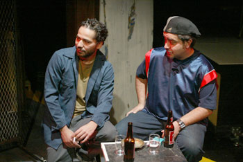 John Ortiz and Stephen Adly Guirgis in Guinea Pig Solo(Photo © Carol Rosegg)