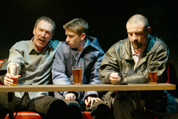 Colin Lane, Dan McCabe, and Ritchie Coster in Trust(Photo © Carol Rosegg)