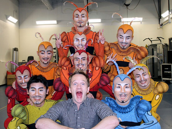 Neil Patrick Harris with cast members of Cirque du Soleil's Iris