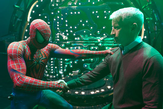 Spider-Man, played by Matthew James Thomas, saves Anderson Cooper
