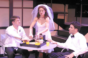 Christopher Sieber, Jean Louisa Kelly, and Josh Radnor in Company(Photo © Michael Lamont)