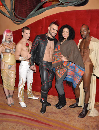 Jordin Sparks (second from right) with cast members of Zumanity