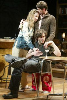Bess Wohl, Will McCormack (standing), and Tyler Francavilla in Chinese Friends(Photo © Joan Marcus)