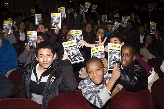 Students from MS 343 at Spider-Man: Turn Off the Dark