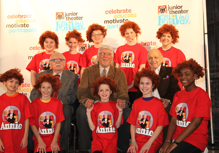 Thomas Meehan, Martin Charnin, and Charles Strouse with Junior Theater Festival students