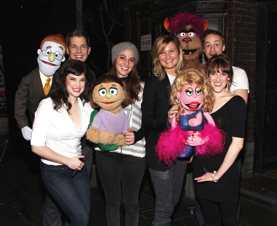 Sara Bareilles and Jennifer Nettles with cast of Avenue Q