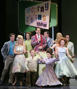 Jonathan Dokuchitz (center) and the castof Hairspray(Photo © Paul Kolnik)