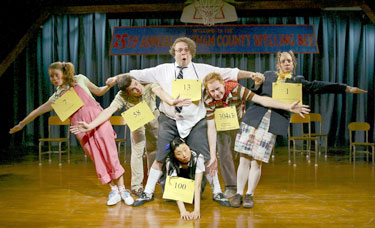 Celia Keenan-Bolger, Robb Sapp, Dan Fogler, Jesse Tyler Ferguson,Sarah Saltzberg, and Deborah S. Craig in The 25th Annual Putnam County Spelling Bee(Photo © Joe Schuyler)