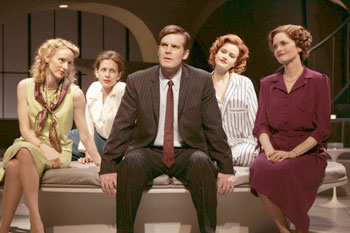 Vivienne Benesch, Jessica Hecht, Peter Krause, Carla Gugino,and Candy Buckley in After the Fall(Photo © Joan Marcus)